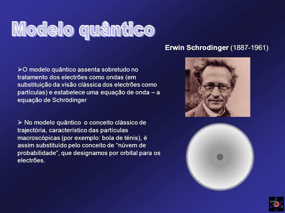 Erwin Schrodinger (1887-1961) O modelo quântico assenta sobretudo no tratamento dos electrões como ondas (em substituição da visão clássica dos electrões como partículas) e estabelece uma equação de onda – a equação de Schrödinger No modelo quântico o conceito clássico de trajectória, característico das partículas macroscópicas (por exemplo: bola de ténis), é assim substituído pelo conceito de núvem de probabilidade, que designamos por orbital para os electrões.
