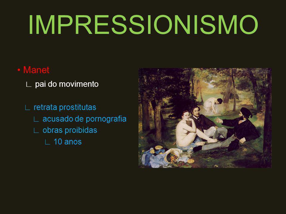 Impressionistas sem financiamento arte pela arte OBS: são considerados pintores ruins, pois as pinturas são embaçadas.