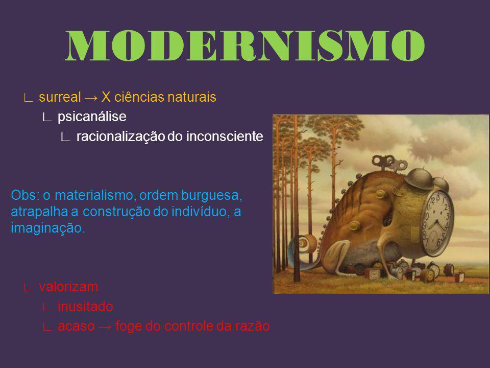 MODERNISMO Movimento artístico ruptura com a tradição arte acadêmica variação do romantismo frustração c/ ciência indústria sociedade (modernidade) transformação