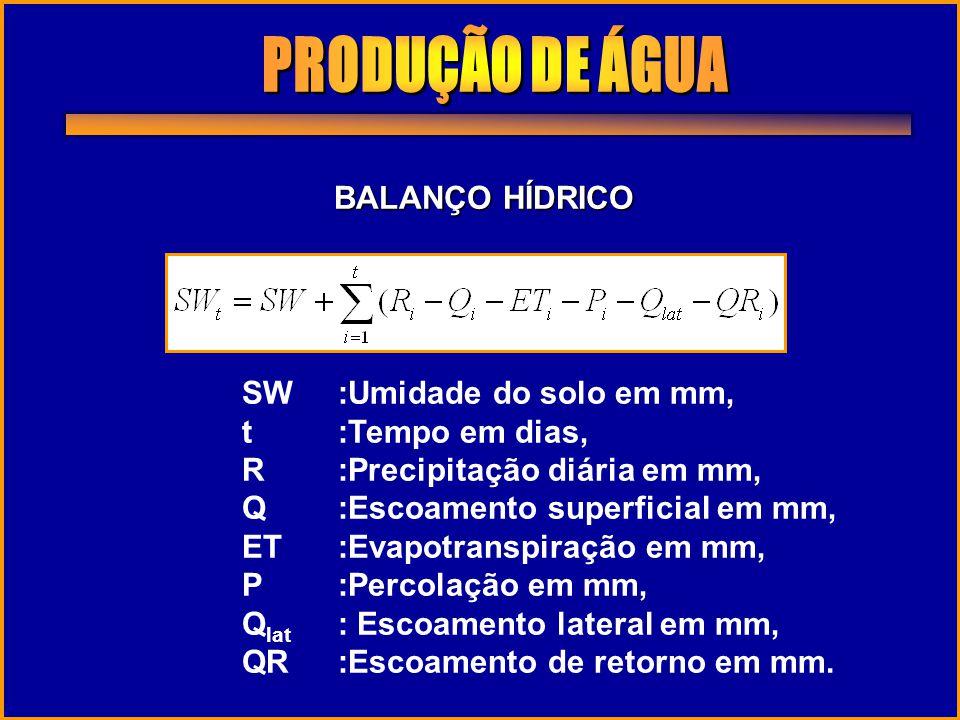 BALANÇO HÍDRICO SW:Umidade do solo em mm, t:Tempo em dias, R:Precipitação diária em mm, Q:Escoamento superficial em mm, ET:Evapotranspiração em mm, P: