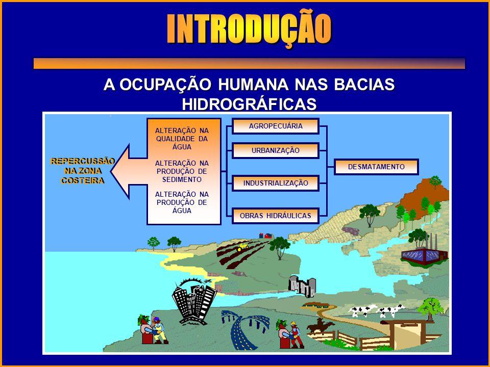 A OCUPAÇÃO HUMANA NAS BACIAS HIDROGRÁFICAS REPERCUSSÃO NA ZONA COSTEIRA AGROPECUÁRIAURBANIZAÇÃO INDUSTRIALIZAÇÃO OBRAS HIDRÁULICAS ALTERAÇÃO NA PRODUÇ