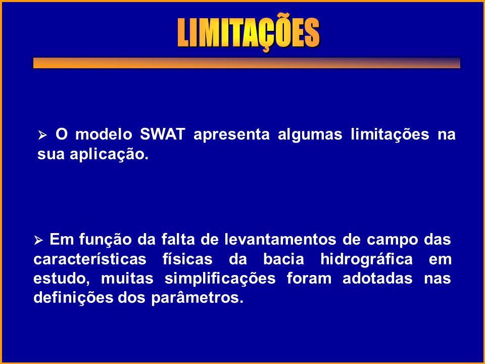 O modelo SWAT apresenta algumas limitações na sua aplicação. Em função da falta de levantamentos de campo das características físicas da bacia hidrogr