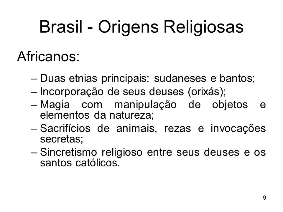 10 Brasil - Origens Religiosas Europeus: –Predominância católica de caráter popular; –Intervenção de santos entre Deus e os homens; –Exorcismos; –Festividades católicas em homenagens aos padroeiros das cidades e das causas; –Irmandades de leigos (brancos e negros);