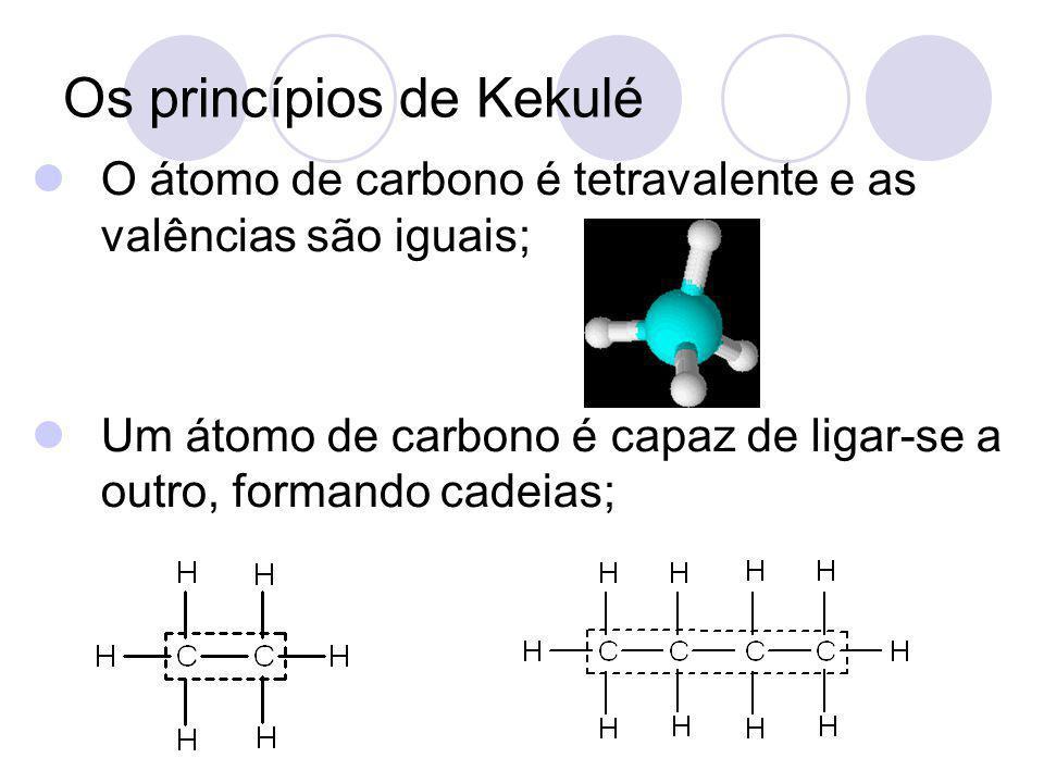 Os princípios de Kekulé O átomo de carbono é tetravalente e as valências são iguais; Um átomo de carbono é capaz de ligar-se a outro, formando cadeias
