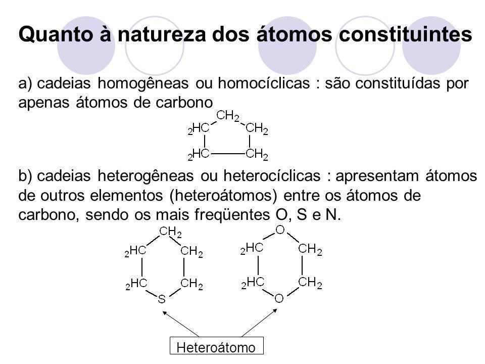 Heteroátomo Quanto à natureza dos átomos constituintes a) cadeias homogêneas ou homocíclicas : são constituídas por apenas átomos de carbono b) cadeia