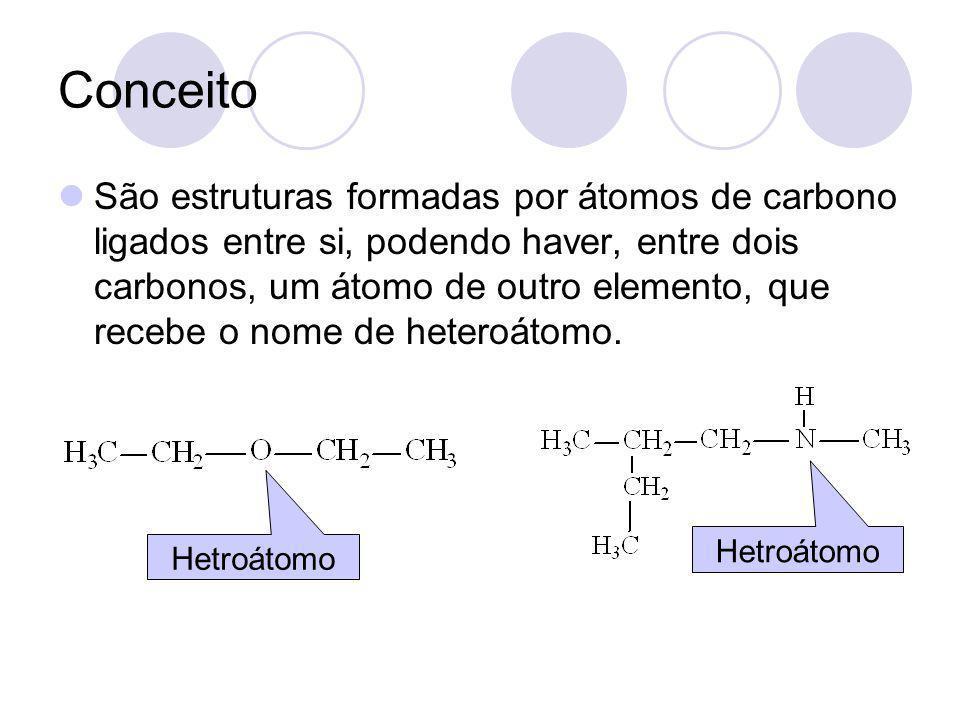 Conceito São estruturas formadas por átomos de carbono ligados entre si, podendo haver, entre dois carbonos, um átomo de outro elemento, que recebe o