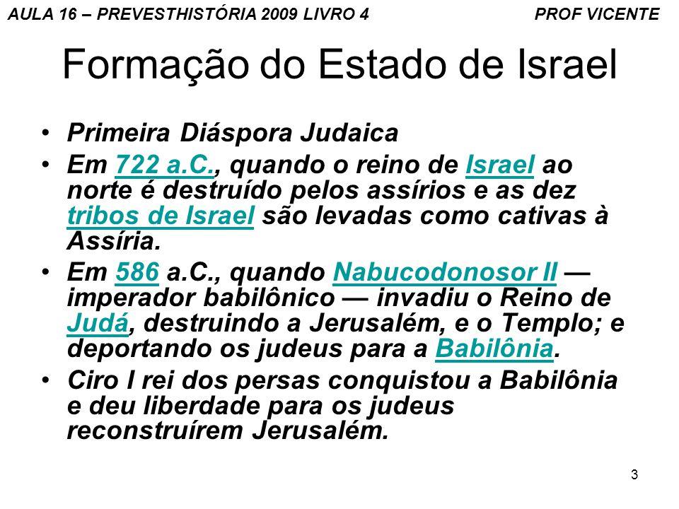 4 Formação do Estado de Israel Sefaradins continuam esperando a vinda do Rei Messias da família de Davi AULA 16 – PREVESTHISTÓRIA 2009 LIVRO 4 PROF VICENTE
