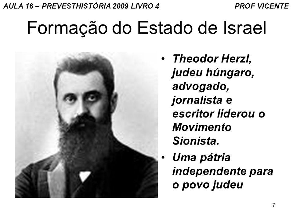 8 Formação do Estado de Israel Em 1896, o livro Der Judenstaat ( O estado judaico ) do austro-húngaro Theodor Herzl, um dos líderes do Movimento Sionista, foi traduzido para o inglês.