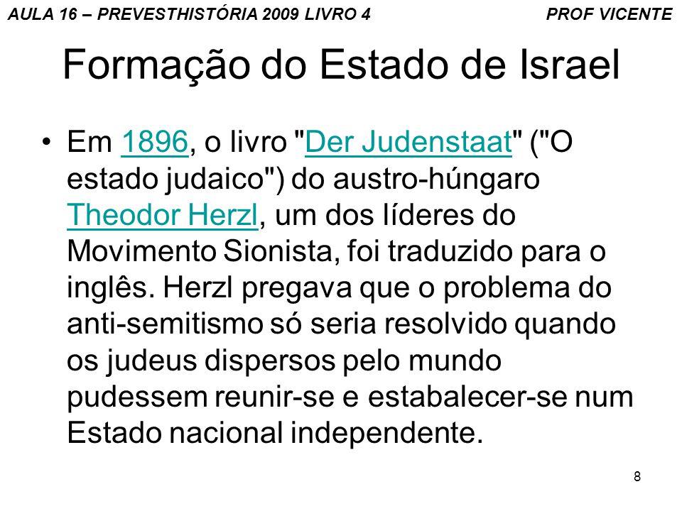 9 Formação do Estado Judeu O sionismo (de Sion, colina da antiga Jerusalém), surgiu na Europa em meados do século XIX.