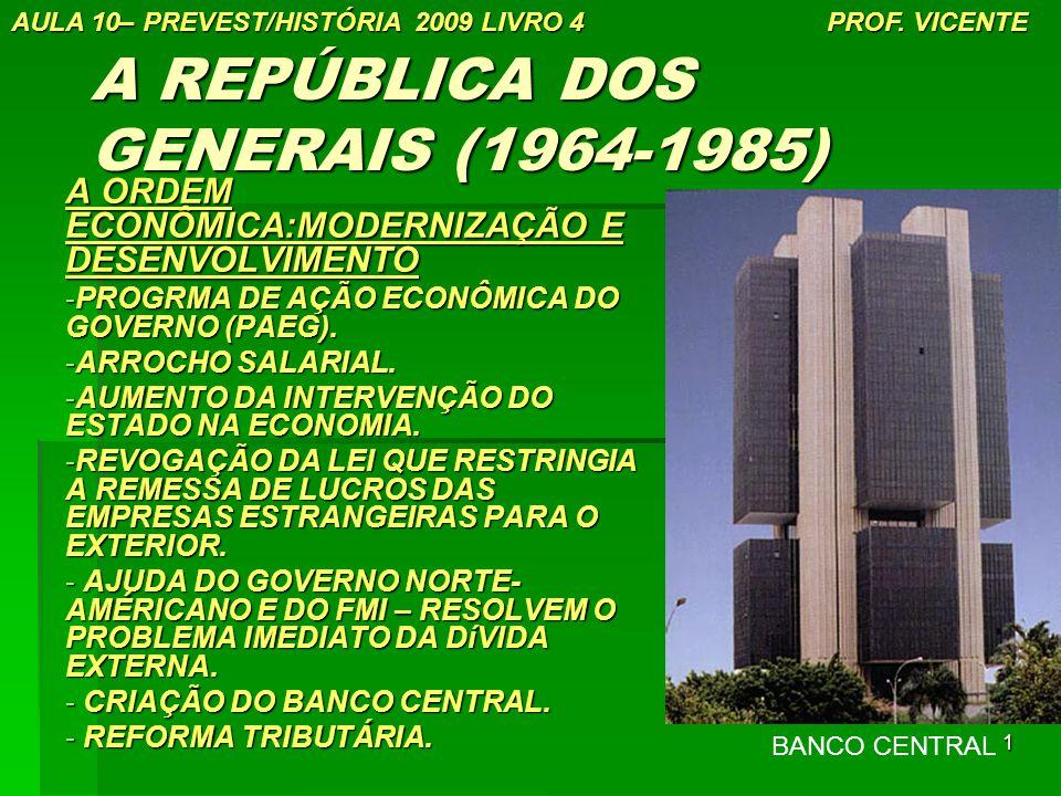 1 A REPÚBLICA DOS GENERAIS (1964-1985) A ORDEM ECONÔMICA:MODERNIZAÇÃO E DESENVOLVIMENTO -PROGRMA DE AÇÃO ECONÔMICA DO GOVERNO (PAEG). -ARROCHO SALARIA