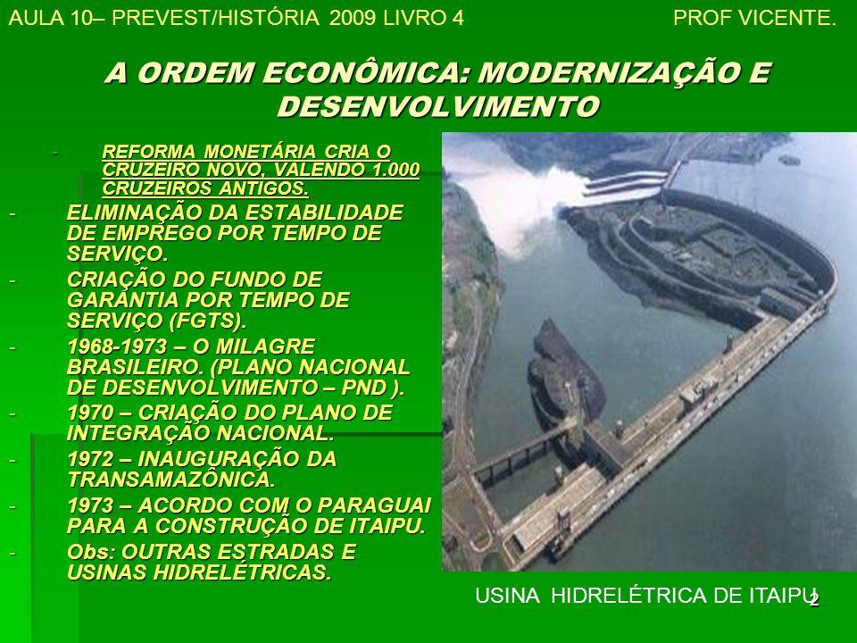 2 A ORDEM ECONÔMICA: MODERNIZAÇÃO E DESENVOLVIMENTO -REFORMA MONETÁRIA CRIA O CRUZEIRO NOVO, VALENDO 1.000 CRUZEIROS ANTIGOS.