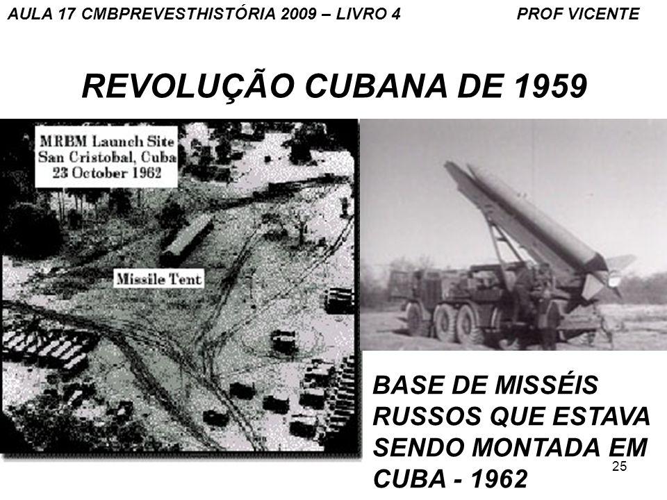 25 REVOLUÇÃO CUBANA DE 1959 BASE DE MISSÉIS RUSSOS QUE ESTAVA SENDO MONTADA EM CUBA - 1962 AULA 17 CMBPREVESTHISTÓRIA 2009 – LIVRO 4 PROF VICENTE