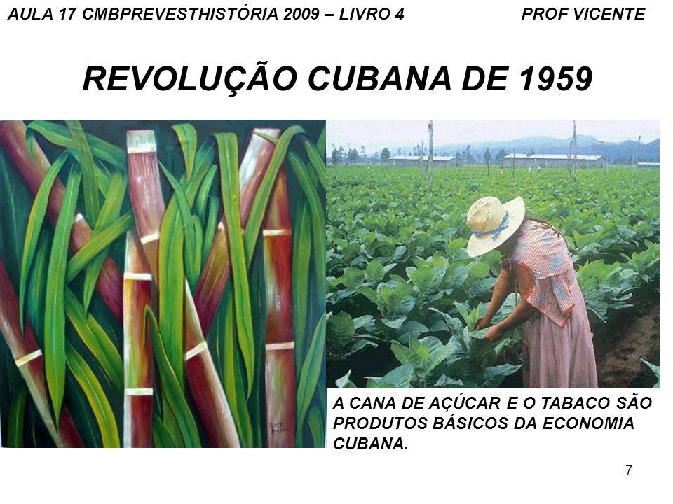 7 REVOLUÇÃO CUBANA DE 1959 A CANA DE AÇÚCAR E O TABACO SÃO PRODUTOS BÁSICOS DA ECONOMIA CUBANA.
