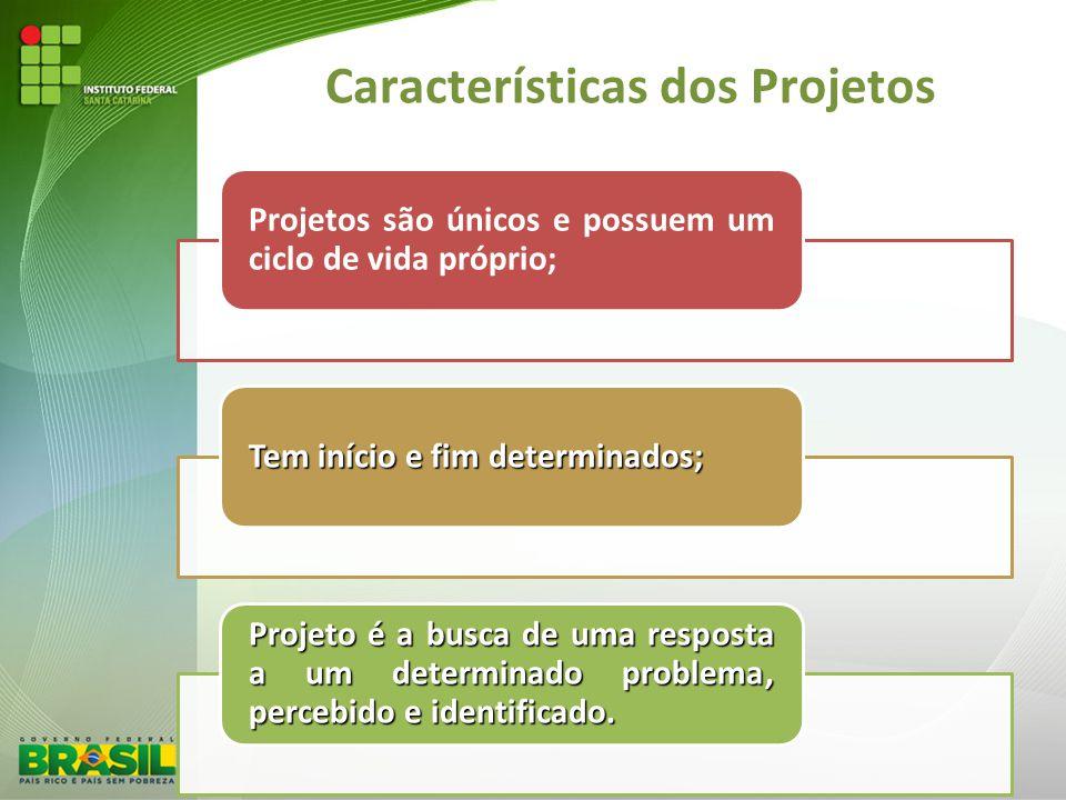 Características dos Projetos Projetos são únicos e possuem um ciclo de vida próprio; Tem início e fim determinados; Projeto é a busca de uma resposta