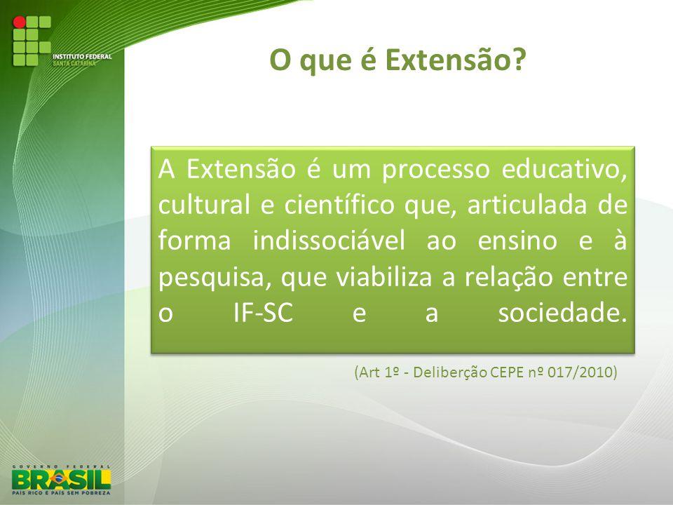 O que é Extensão? (Art 1º - Deliberção CEPE nº 017/2010)