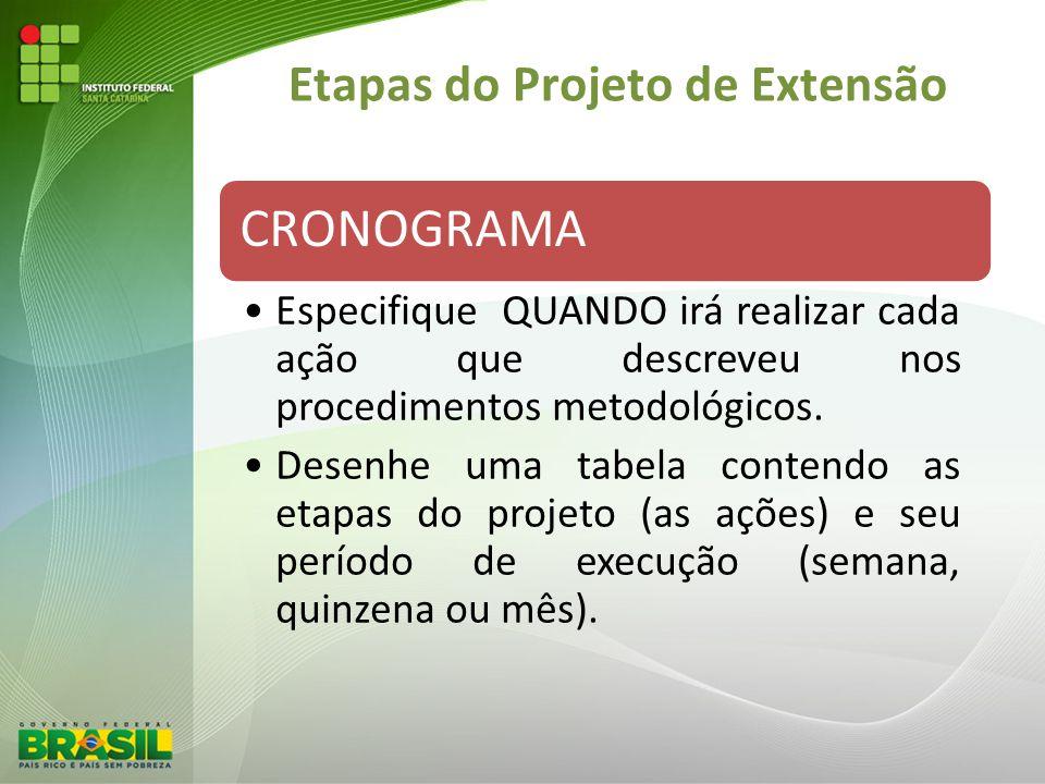 Etapas do Projeto de Extensão CRONOGRAMA Especifique QUANDO irá realizar cada ação que descreveu nos procedimentos metodológicos. Desenhe uma tabela c