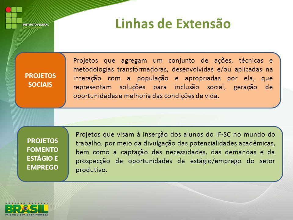 Linhas de Extensão PROJETOS SOCIAIS Projetos que agregam um conjunto de ações, técnicas e metodologias transformadoras, desenvolvidas e/ou aplicadas n