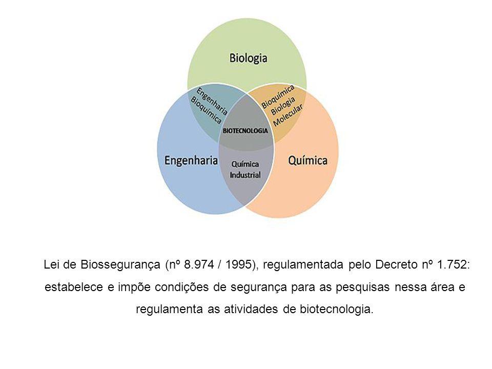 Lei de Biossegurança (nº 8.974 / 1995), regulamentada pelo Decreto nº 1.752: estabelece e impõe condições de segurança para as pesquisas nessa área e regulamenta as atividades de biotecnologia.