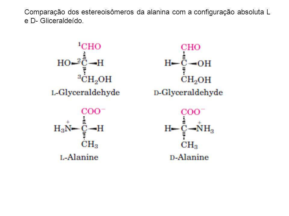 Comparação dos estereoisômeros da alanina com a configuração absoluta L e D- Gliceraldeído.