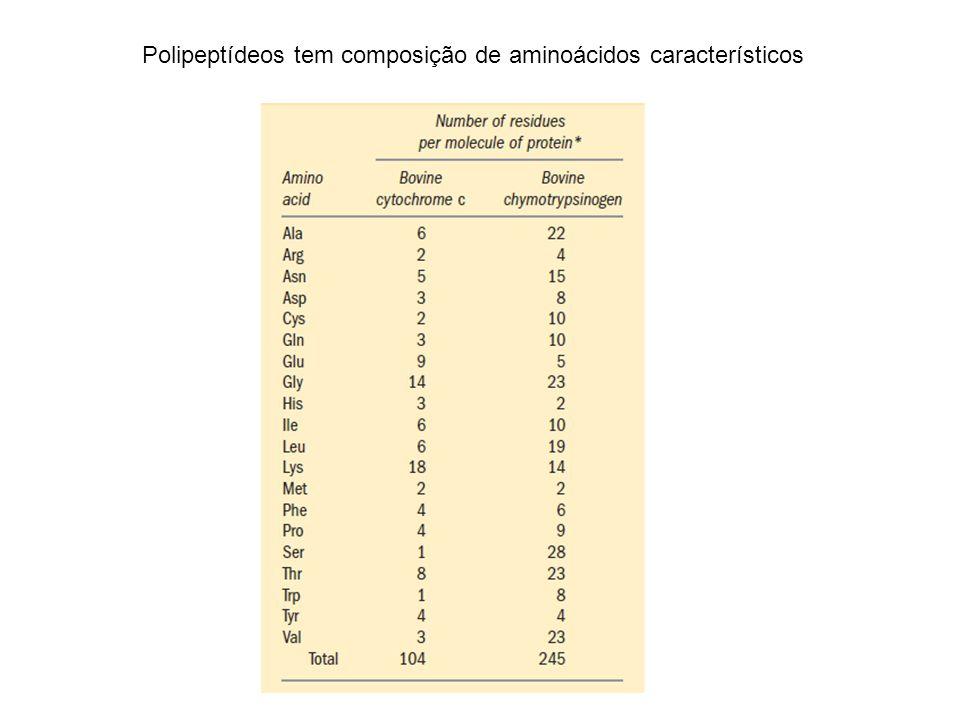 Polipeptídeos tem composição de aminoácidos característicos