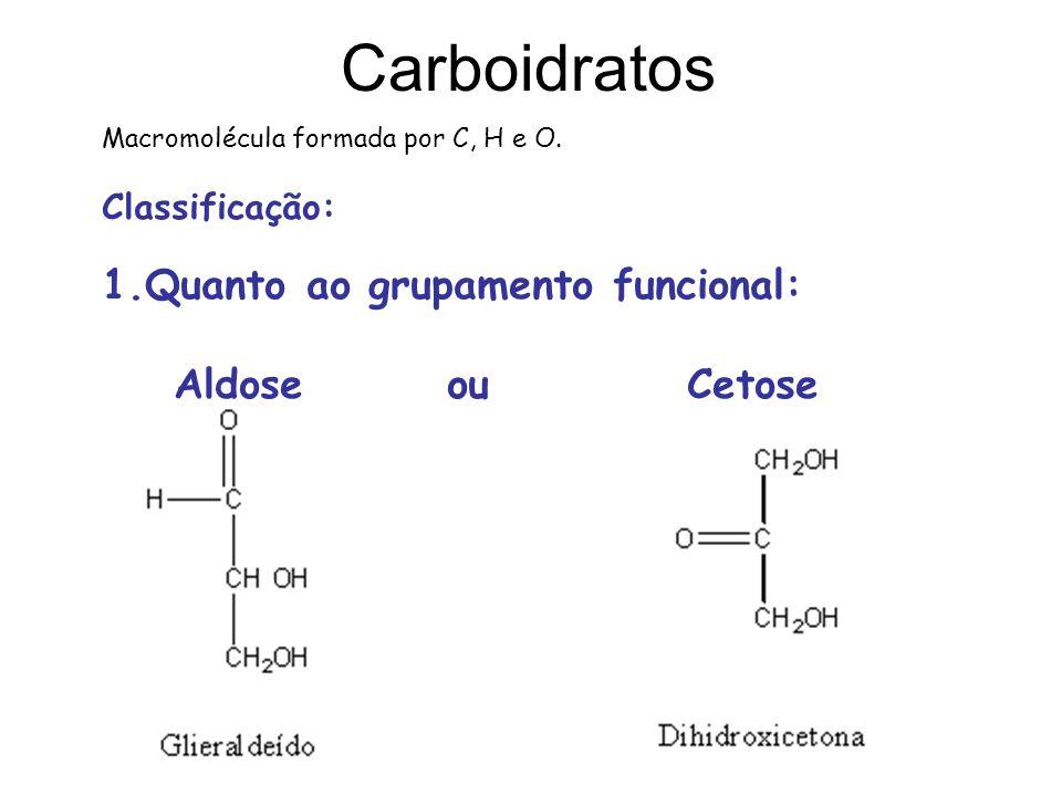Carboidratos Macromolécula formada por C, H e O. Classificação: 1.Quanto ao grupamento funcional: Aldose ou Cetose