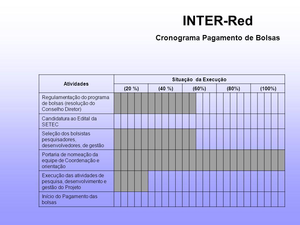 Atividades Situação da Execução (20 %) (40 %)(60%)(80%) (100%) Regulamentação do programa de bolsas (resolução do Conselho Diretor) Candidatura ao Edital da SETEC Seleção dos bolsistas pesquisadores, desenvolvedores, de gestão Portaria de nomeação da equipe de Coordenação e orientação Execução das atividades de pesquisa, desenvolvimento e gestão do Projeto Início do Pagamento das bolsas INTER-Red Cronograma Pagamento de Bolsas