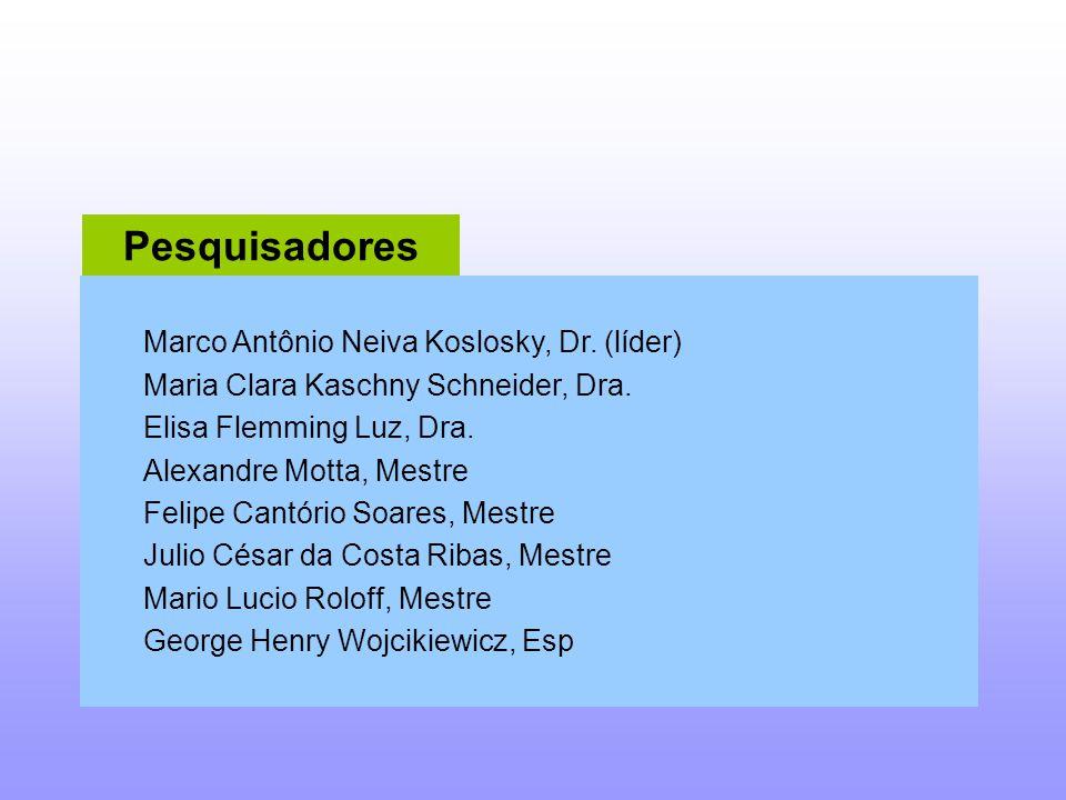 Pesquisadores Marco Antônio Neiva Koslosky, Dr.(líder) Maria Clara Kaschny Schneider, Dra.
