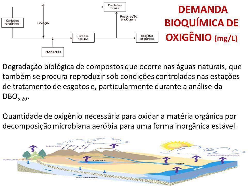DEMANDA BIOQUÍMICA DE OXIGÊNIO (mg/L) Degradação biológica de compostos que ocorre nas águas naturais, que também se procura reproduzir sob condições