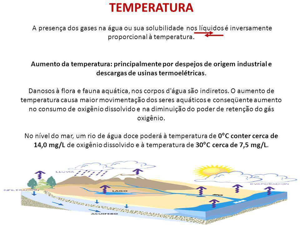 TEMPERATURA A presença dos gases na água ou sua solubilidade nos líquidos é inversamente proporcional à temperatura. Aumento da temperatura: principal