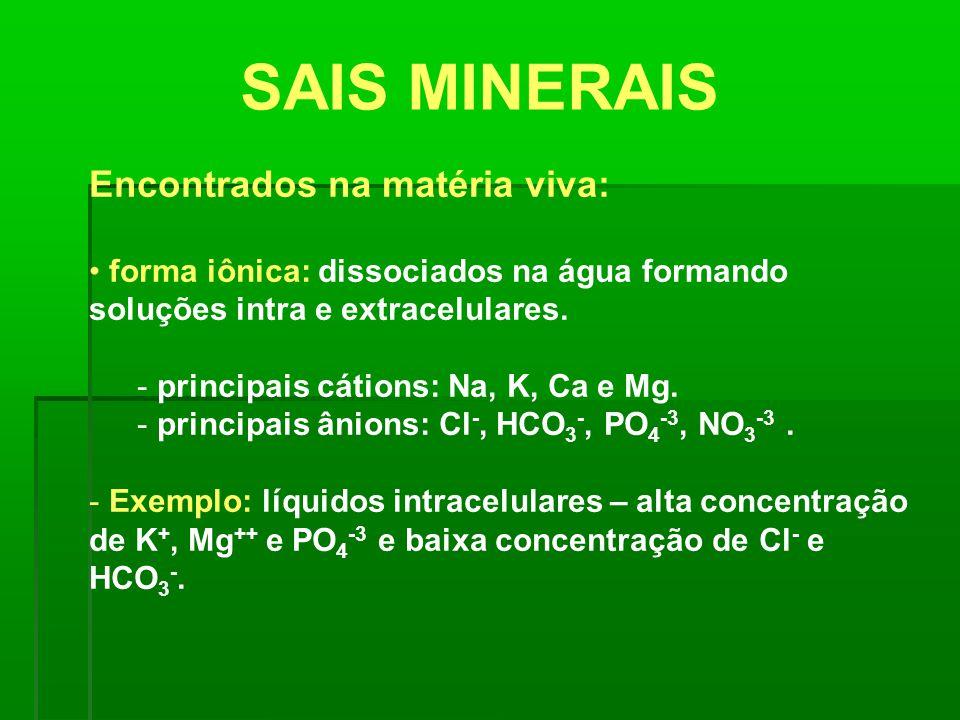 SAIS MINERAIS Encontrados na matéria viva: forma iônica: dissociados na água formando soluções intra e extracelulares. - principais cátions: Na, K, Ca