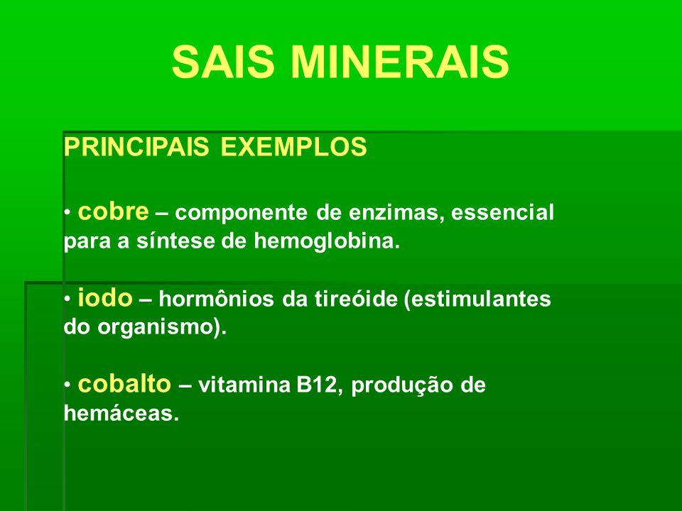 SAIS MINERAIS PRINCIPAIS EXEMPLOS cobre – componente de enzimas, essencial para a síntese de hemoglobina. iodo – hormônios da tireóide (estimulantes d