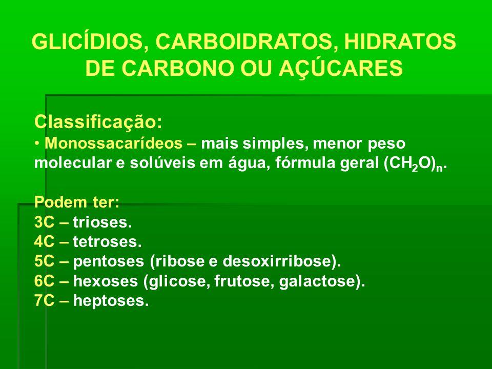 GLICÍDIOS, CARBOIDRATOS, HIDRATOS DE CARBONO OU AÇÚCARES Classificação: Monossacarídeos – mais simples, menor peso molecular e solúveis em água, fórmu