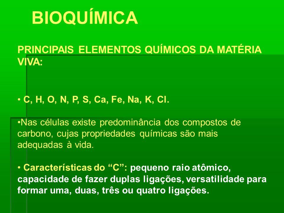 PRINCIPAIS ELEMENTOS QUÍMICOS DA MATÉRIA VIVA: C, H, O, N, P, S, Ca, Fe, Na, K, Cl. Nas células existe predominância dos compostos de carbono, cujas p