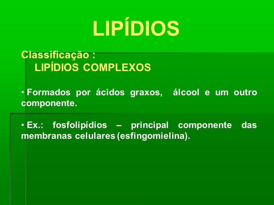 LIPÍDIOS Classificação : LIPÍDIOS COMPLEXOS Formados por ácidos graxos, álcool e um outro componente. Ex.: fosfolipídios – principal componente das me