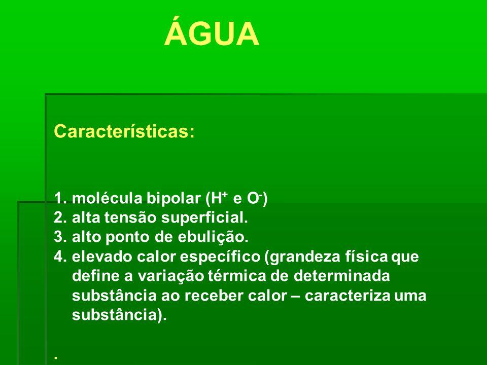Características: 1.molécula bipolar (H + e O - ) 2.alta tensão superficial. 3.alto ponto de ebulição. 4.elevado calor específico (grandeza física que