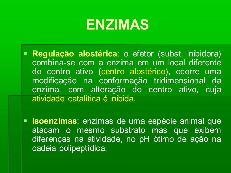 ENZIMAS Regulação alostérica: o efetor (subst. inibidora) combina-se com a enzima em um local diferente do centro ativo (centro alostérico), ocorre um