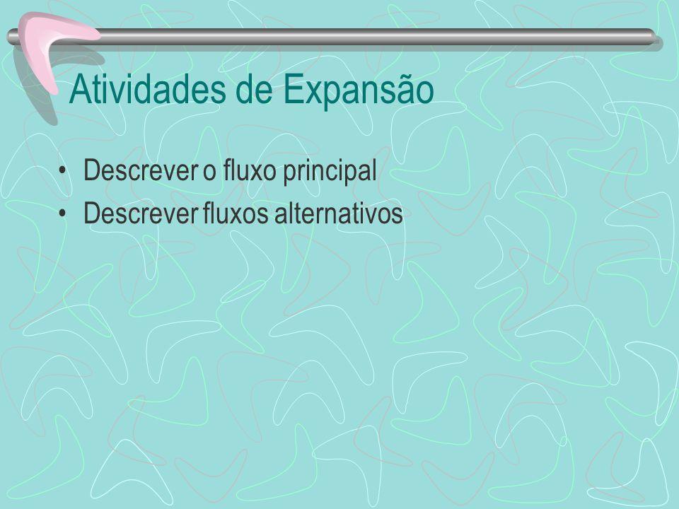 Atividades de Expansão Descrever o fluxo principal Descrever fluxos alternativos