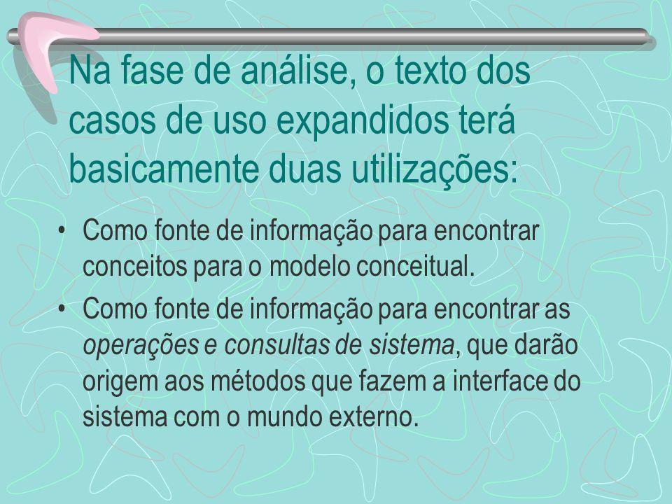 Na fase de análise, o texto dos casos de uso expandidos terá basicamente duas utilizações: Como fonte de informação para encontrar conceitos para o mo