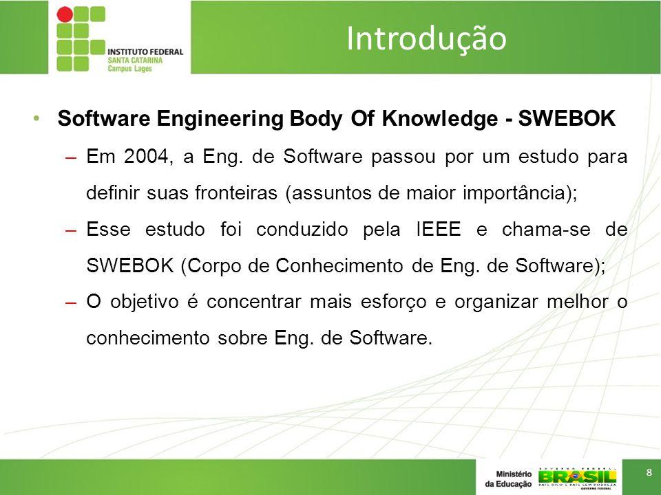 Introdução Software Engineering Body Of Knowledge - SWEBOK –Requisitos (Requirements) de Software –Projeto (Design) de Software –Construção (Construction) de Software –Teste (Testing) de Software –Manutenção (Maintenance) de software –Gerência de Configuração de Software –Gerência de Engenharia de Software –Processos de Engenharia de Software –Ferramentas e Métodos de Engenharia de Software –Qualidade (Quality) de Software 9 A seleção e organização de uma série de conteúdos deu origem a disciplina de Análise e Projeto de Sistemas