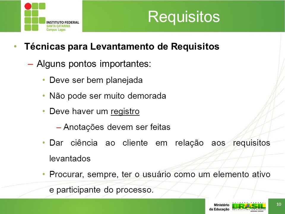 Requisitos Técnicas para Levantamento de Requisitos –Alguns pontos importantes: Deve ser bem planejada Não pode ser muito demorada Deve haver um regis
