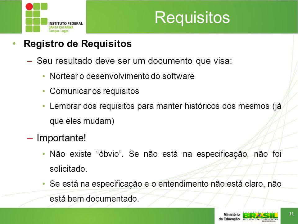 Requisitos Registro de Requisitos –Seu resultado deve ser um documento que visa: Nortear o desenvolvimento do software Comunicar os requisitos Lembrar dos requisitos para manter históricos dos mesmos (já que eles mudam) –Importante.