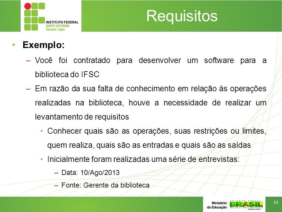 Requisitos Exemplo: –Você foi contratado para desenvolver um software para a biblioteca do IFSC –Em razão da sua falta de conhecimento em relação às o