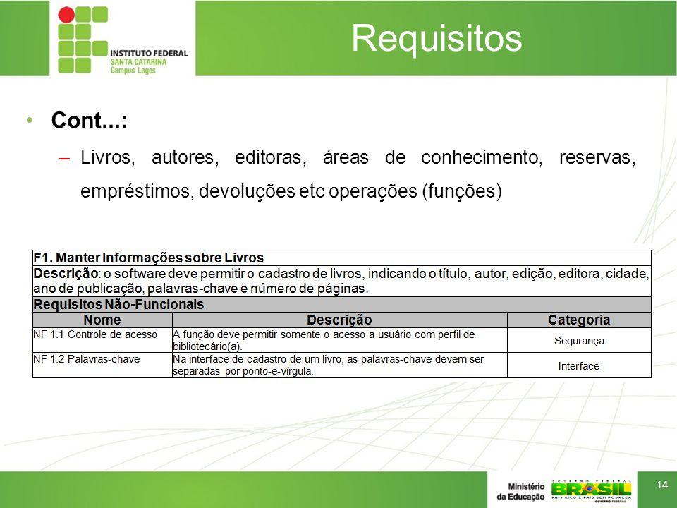 Requisitos Cont...: –Livros, autores, editoras, áreas de conhecimento, reservas, empréstimos, devoluções etc operações (funções) 14