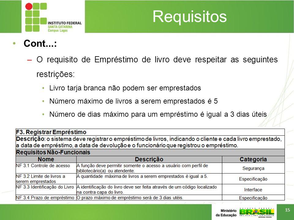 Requisitos Cont...: –O requisito de Empréstimo de livro deve respeitar as seguintes restrições: Livro tarja branca não podem ser emprestados Número má