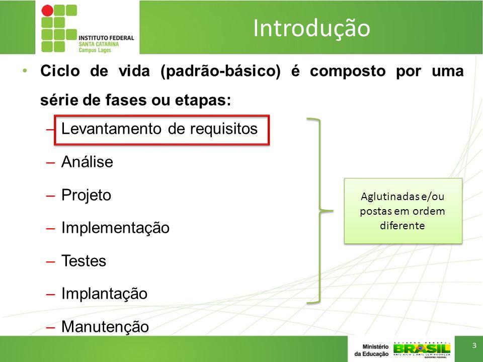 Introdução Ciclo de vida (padrão-básico) é composto por uma série de fases ou etapas: –Levantamento de requisitos –Análise –Projeto –Implementação –Te
