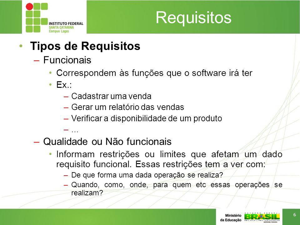 Requisitos Tipos de Requisitos –Funcionais Correspondem às funções que o software irá ter Ex.: –Cadastrar uma venda –Gerar um relatório das vendas –Verificar a disponibilidade de um produto –...