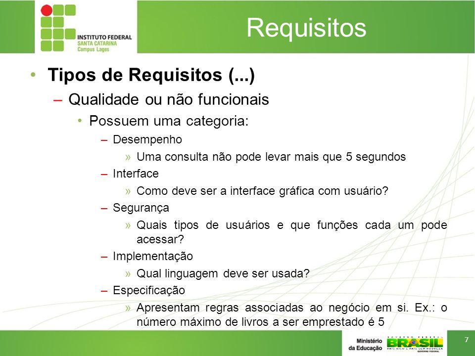 Requisitos Tipos de Requisitos (...) –Qualidade ou não funcionais Possuem uma categoria: –Desempenho »Uma consulta não pode levar mais que 5 segundos –Interface »Como deve ser a interface gráfica com usuário.