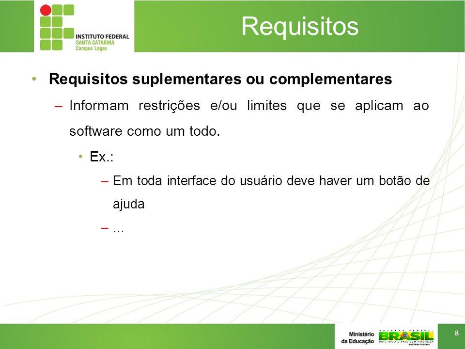 Requisitos Requisitos suplementares ou complementares –Informam restrições e/ou limites que se aplicam ao software como um todo. Ex.: –Em toda interfa