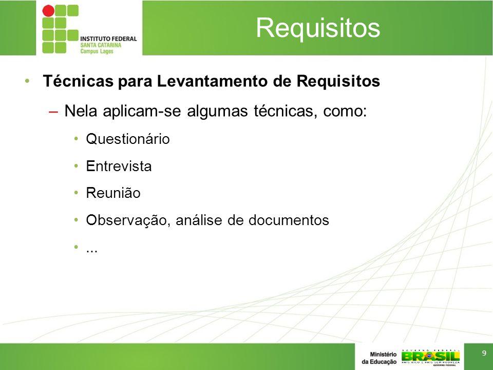 Requisitos Técnicas para Levantamento de Requisitos –Nela aplicam-se algumas técnicas, como: Questionário Entrevista Reunião Observação, análise de documentos...