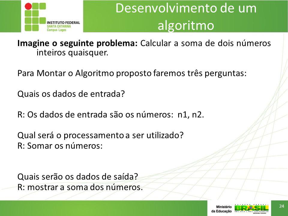 Desenvolvimento de um algoritmo Imagine o seguinte problema: Calcular a soma de dois números inteiros quaisquer.